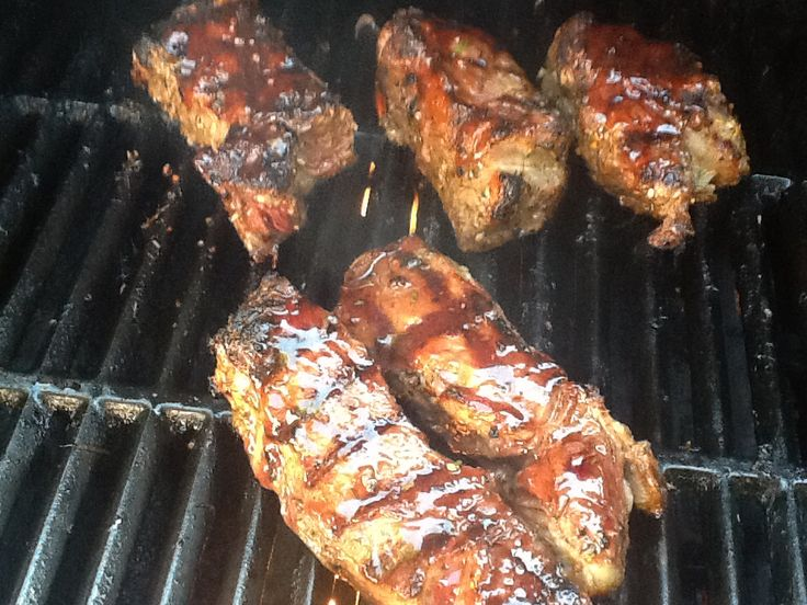 Rib steaks with Char Sui sauce.