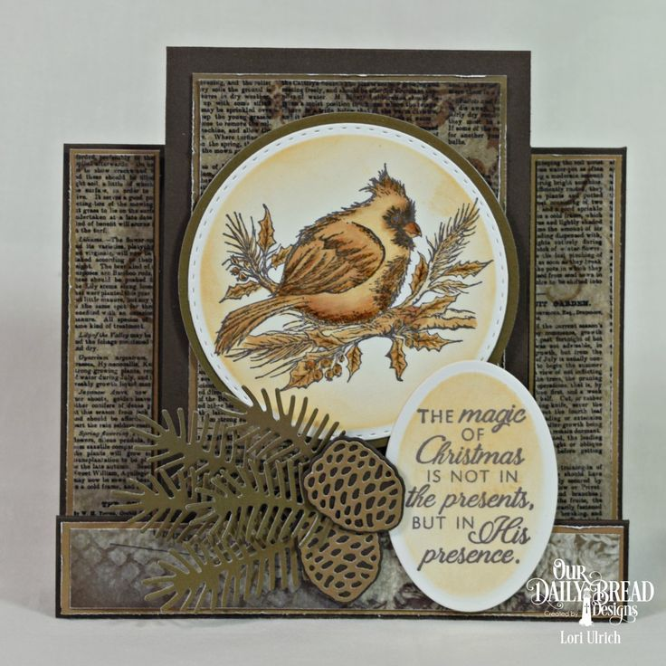 Our Daily Bread Designs November 2017 - Winter Cardinal Stamp set, Vintage Ephemera Paper Collection, Ephemera Essentials Paper Pad, Dies - Pine Branches, Pinecones, Ovals, Circles, Double Stitched Circles