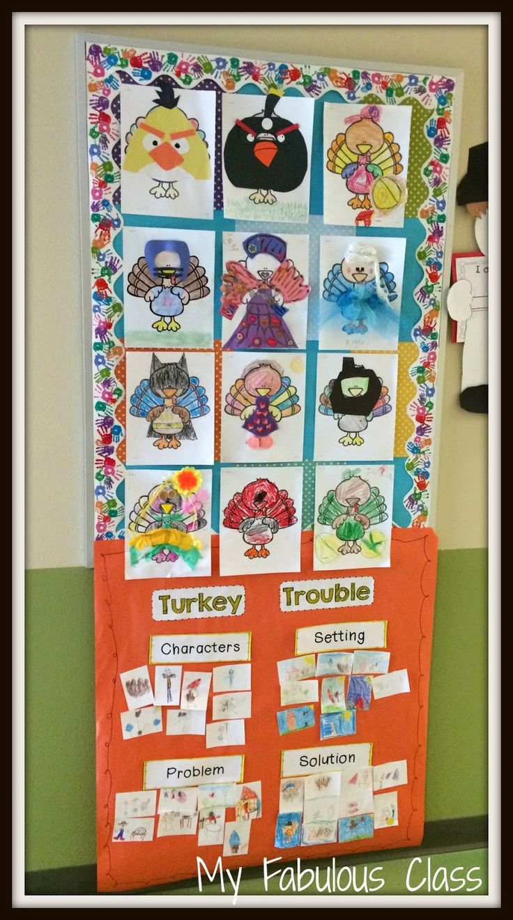 Lots of ideas for Thanksgiving and hiding a turkey. Great anchor chart and template for Turkey Trouble.