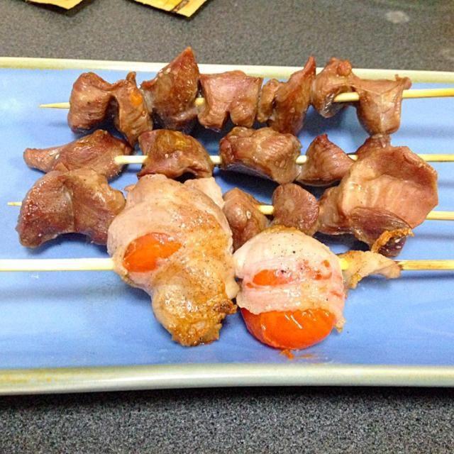 ありがとう嫁さん - 6件のもぐもぐ - 豚バラミニトマト巻きと砂肝串 by geepee