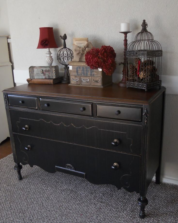 Black Refinished Dresser Createinspire Back To Black Antique Dresser Guest Bedroom
