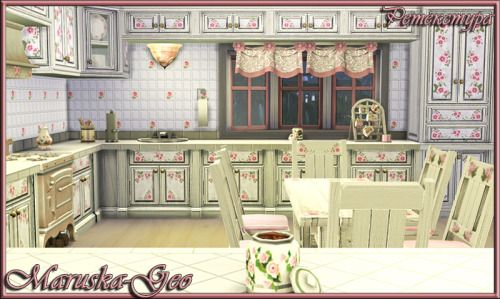 """Set of kitchen furniture """"Shabby chic"""" recolorСостав сета:Комплект кухонных тумб и шкафов - два варианта краски (с эффектом потертости и без) по три расцветки в каждом.Стол - семь расцветок.Стул - девять расцветок. Холодильник - три расцветки. Плита - три расцветки. Вытяжка - три расцветки. Четыре окна разных расцветокDOWNLOADkitchen noabrasionDOWNLOAD kitchen with abrasion  DOWNLOAD table andchair DOWNLOAD fridge and stoveDOWNLOADwindows"""