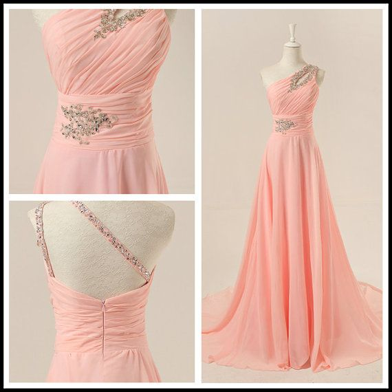 Chiffon One-Shoulder A-Line Pearl Pink Long Evening Dress/Prom Dress/Formal Evening Dress With Sweep Train on Etsy, $136.99