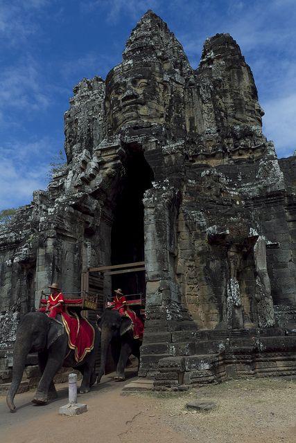 Elephants at Angkor Thom South Gate , Cambodia