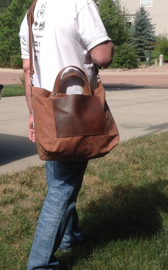 The Surveyor's Bag Waxed Canvas Tote with Leather by Zakken