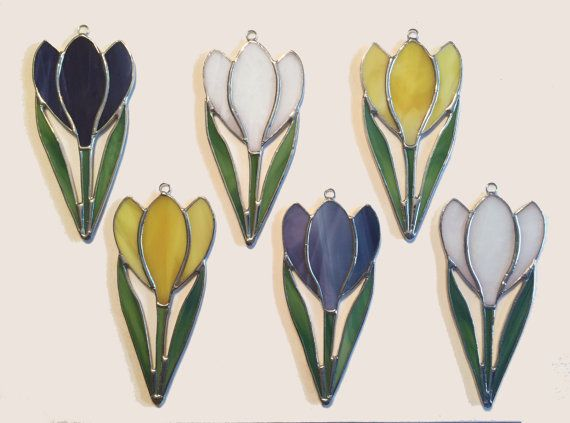 Handmade Stained Glass Crocus Suncatcher by QTSG on Etsy