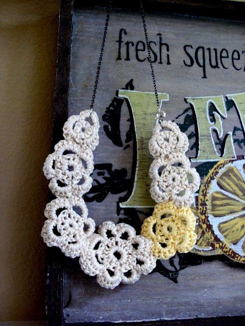 Crochet statement necklace: Crafty Stuff, Crochet Flowers, Crochet Jewelry, Crochet Necklace, Diy Jewelry, Creative Crochet, Craft Ideas, Crochet Pattern, Flower Necklace