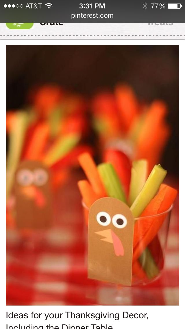 Add a paper turkey to a clear plastic cup.  Put dip in the bottom and then add the carrot sticks, celery, peppers, etc.