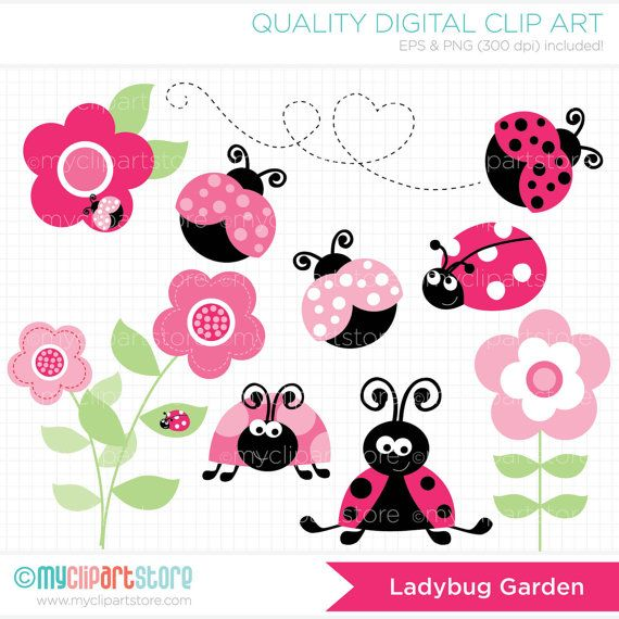 Ladybug Garden (Pink) Clip Art / Digital Clipart - Instant Download