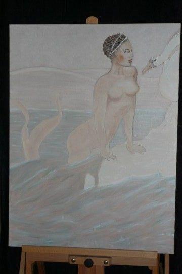 Leah en de zwaan  olieverf