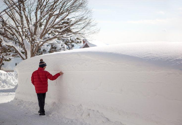 Early season snow depth in Madarao Ski Resort Japan - average snowfall is 10-13 metres per season