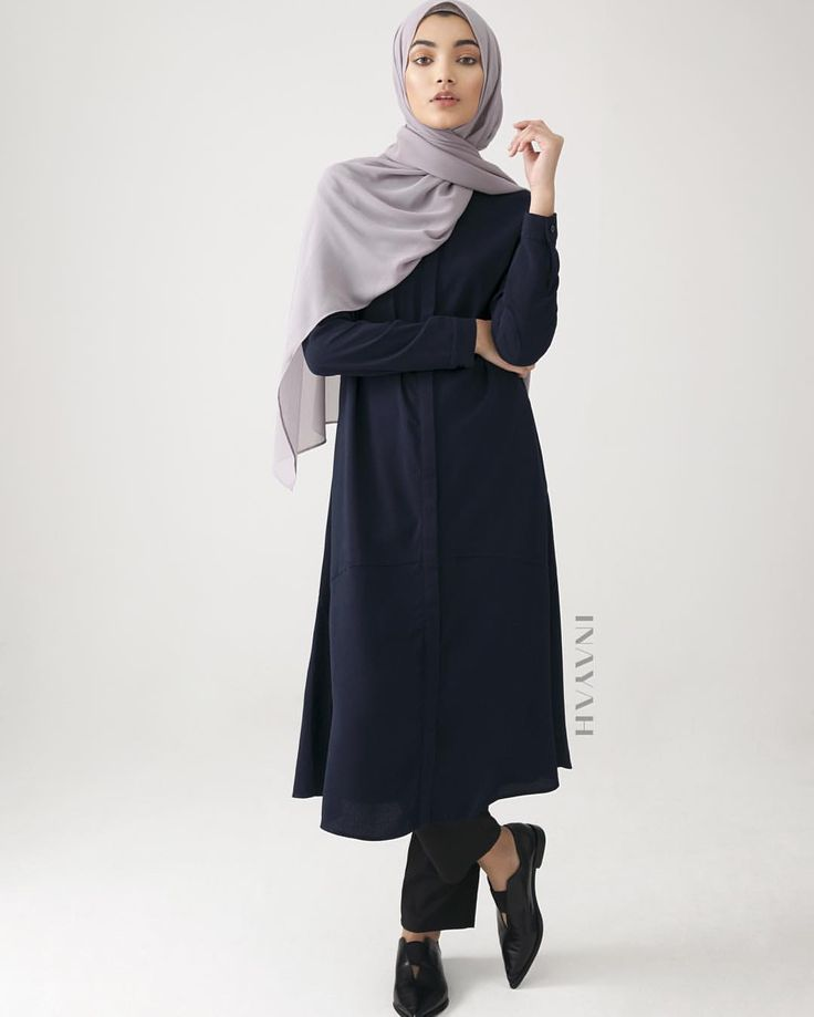 INAYAH | High quality textured fabric was used to create this contemporary #Shirt #Dress. Pair from a range of #Modal Blend, Rayon #Blend #Jersey and #Cotton hijabs! - Navy Textured Shirt Dress + Black Straight Leg Trousers + Washed Lilac Grey Soft Crepe #Hijab - www.inayah.co