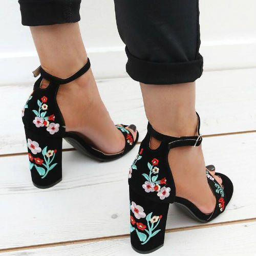 50b55e267f6 Floral Embroidered Block Heels   Shoes   Shoes, Comfy heels, Shoe boots