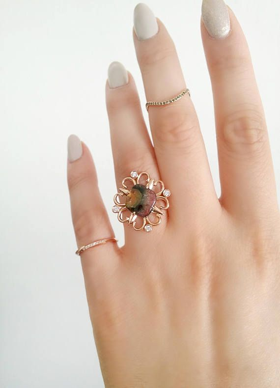 Vintage Tourmaline ring 18K rose gold ring Vintage diamond