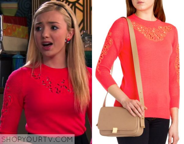 JESSIE: SEASON 3 EPISODE 22 EMMA'S LASER CUT OUT EMBROIDERY RED KNITTED SWEATER Posted on October 18, 2014 by Kirsty Emma Ross (Peyton List) wears this Red Embroidered Cut out Knit Sweatshirt in this episode of Jessie.  3x22 Jessie Peyton List Emma Ross Laser Cut Out Embroidery Red Knitted Sweater  It is the Ted Baker 'Talula' Embroidered Jumper in Hot Pink