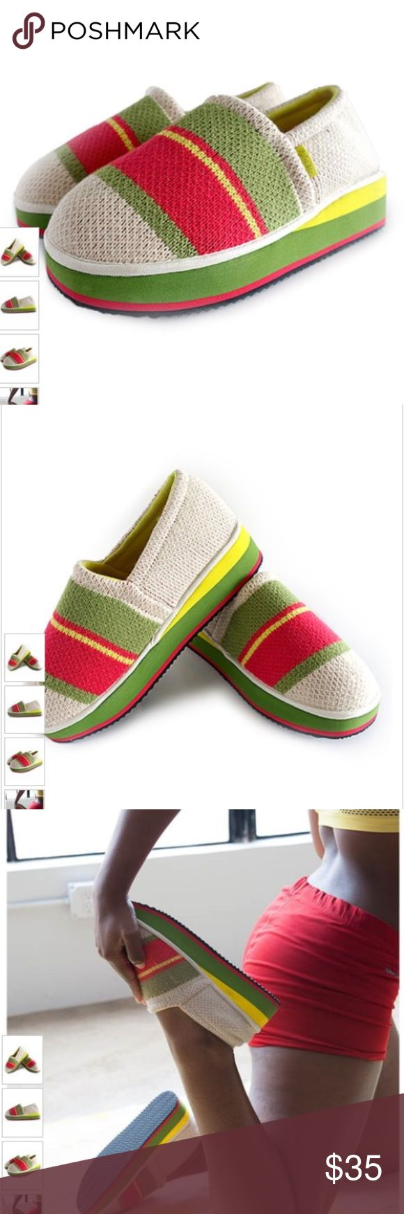 NWT Zenzee Green Hippy Stripe Slipper Size Medium NWT Zenzee Green Hippy Stripe Slipper Size Medium. Comes in original packaging.  Warm up cold toes in this cozy pair of slippers boasting bold complementing hues and a fun design to top off your lounge-worthy ensemble. * Slip-on * Man-made knit upper * Anti-bacterial lining * Cushioned foot bed * Multi-density EVA midsole * Anti-slip rubber sole * Imported Zenzee Shoes Slippers