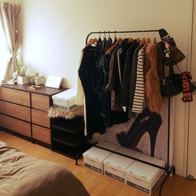 mmm.さんの、ベッド周り,IKEA,ハンガーラック,100均,セリア,MULIG,のお部屋写真