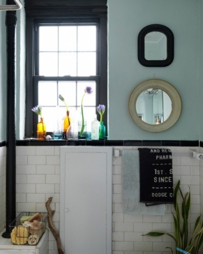Bathroom Subway Tile With Dark Brown Trim And Light Teal