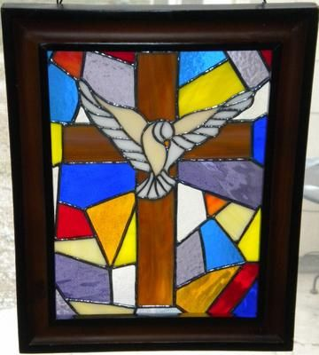 Dove With Cross: Wanted to make a spritual window for the Christmas season and this was it. It was a fun window to make choosing colors and such. By a visitor to my site, PJ Bland.
