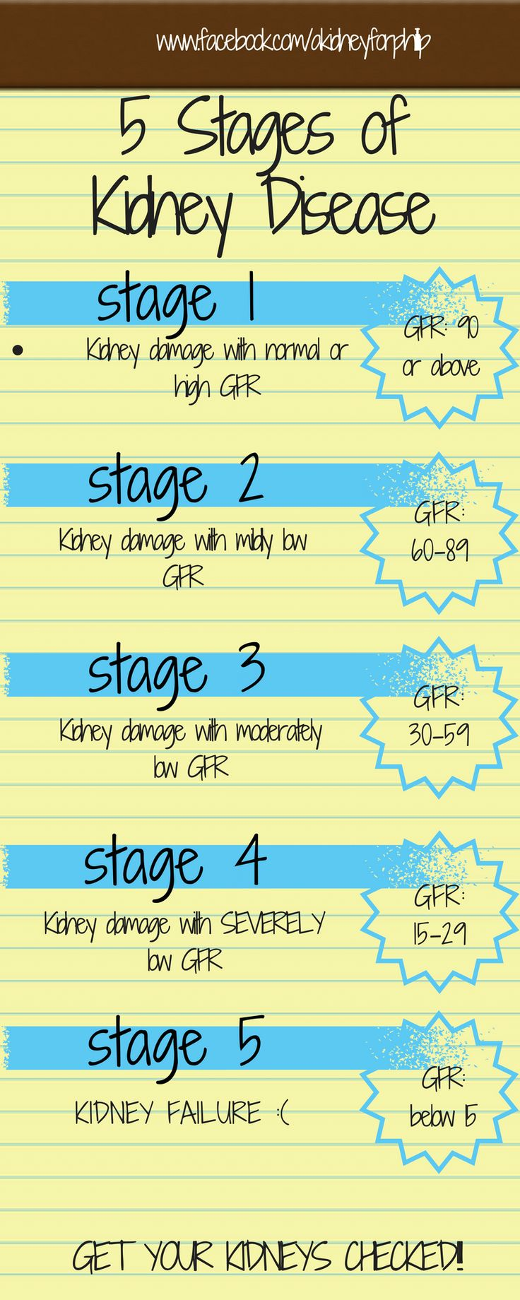 5 Stages of Kidney Disease Infographic www.facebook.com/akidneyforphillip