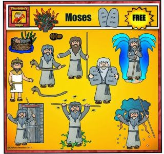 Free Moses Clip Art set for personal use from Charlotte's Clips. Commercial license is available for low purchase price.