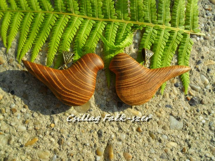 acacia wood bird pendant