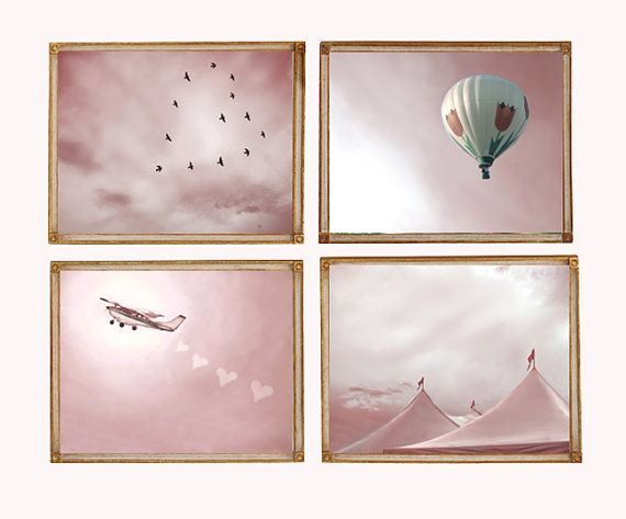 Pink Skies - Set of 4 8x10 Photographs- Carnival Big Top Pastel Sky Hot Air Balloon  Plane Girls Room Nursery Decor Baby Gift Teen Wall Art