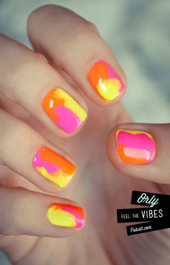 Nails Art, Nails Colors, Summer Nails, Ties Dyes, Pink, Lava Lamps, Neon Nails, Summer Colors, Bright Colors