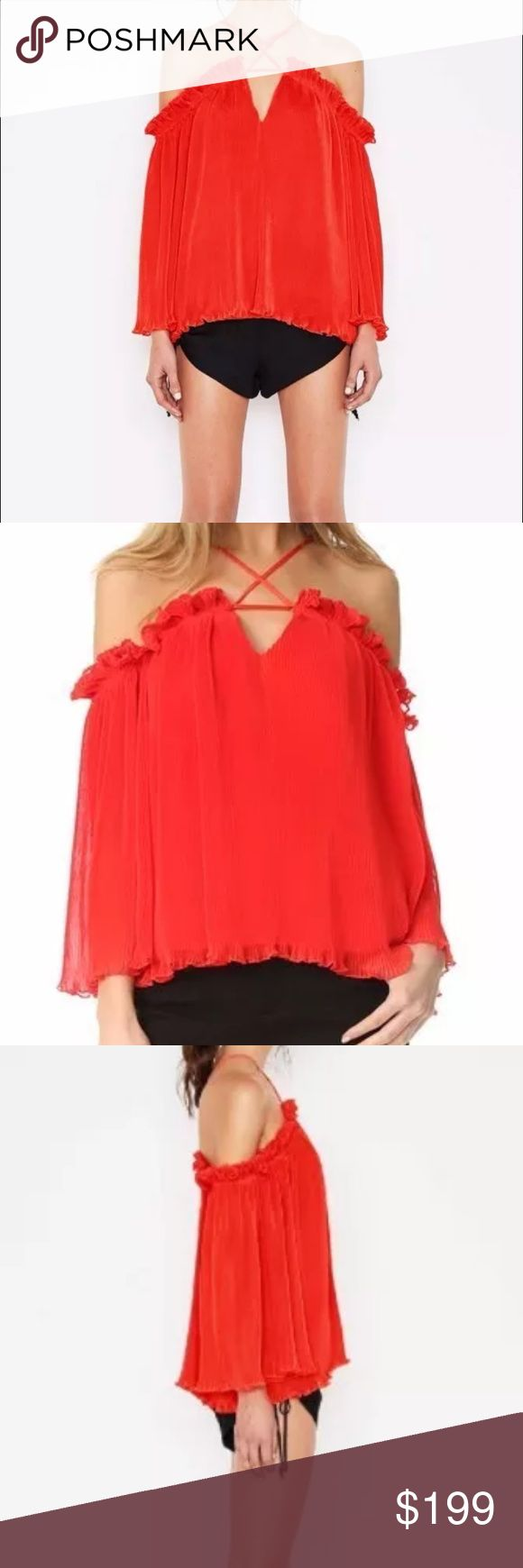 Alice McCall What Do You Mean Top- Red- NWT- 2 US Brand New with Tags- $240 Retail - SOLD OUT                              Size 2 US / 6 AUS Crisp micro-pleats create rich texture and movement through this breezy Alice McCall blouse. Slim, adjustable shoulder straps suspend the off-shoulder silhouette. Draped sleeves. Button back closure. Lined. - Off the shoulder style - Flared sleeves - Adjustable straps Fabric: Chiffon. Shell: 100% polyester. Lining: 97% polyester/3% elastane. Alice…