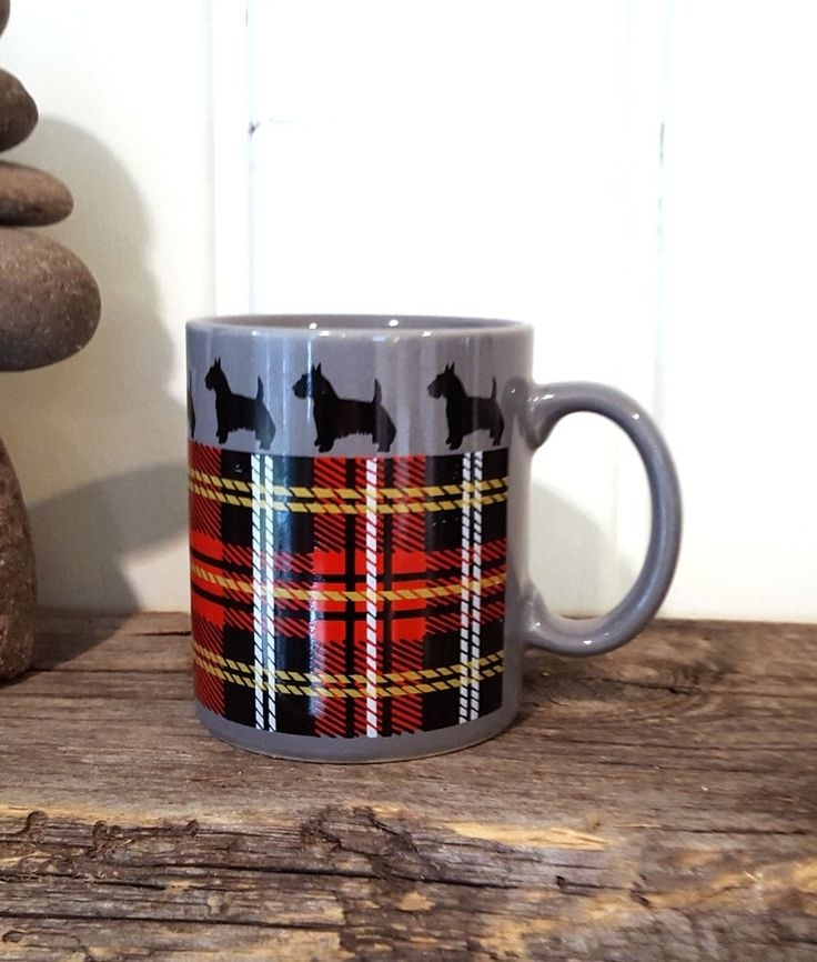 Morning Scottie Coffee Cup Retro Scottish Terrier With Red Scotch Plaid Grey Coffee Mug by Pesserae on Etsy