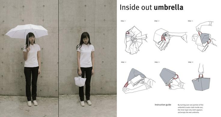 Guarda-chuva que se transforma em bolsa.