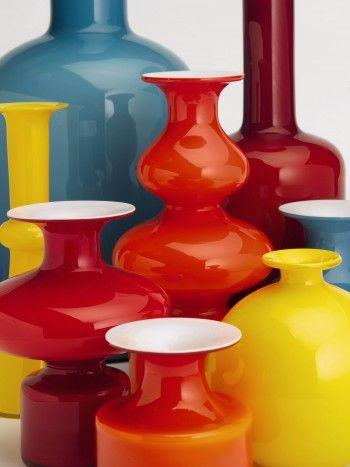 Per Lutkin glass vases,manufactured by Holmegaard DK