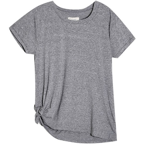 Side Tie T-Shirt found on Polyvore featuring tops, t-shirts, tees, gray top, grey tee, grey t shirt, gray t shirt and side tie t shirt