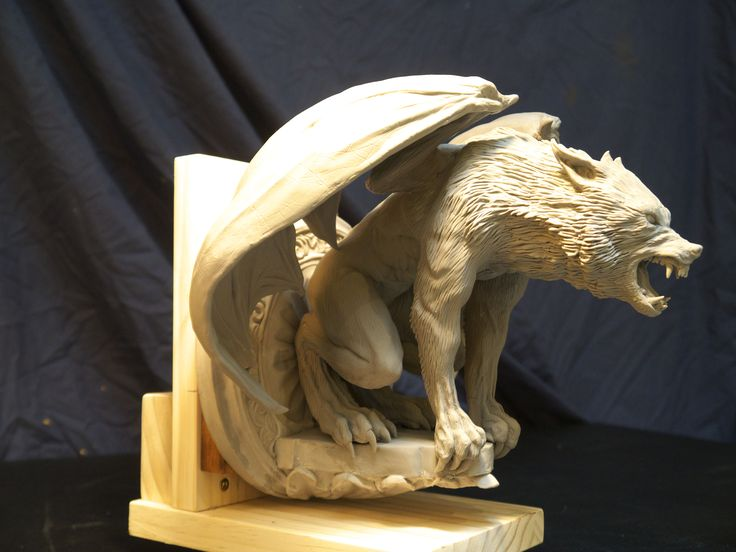 Werewolf gargoyle sculpted in sculpey polymer clay ready to lost wax cast in bronze, by Brent Larsen Kustom Design Studio