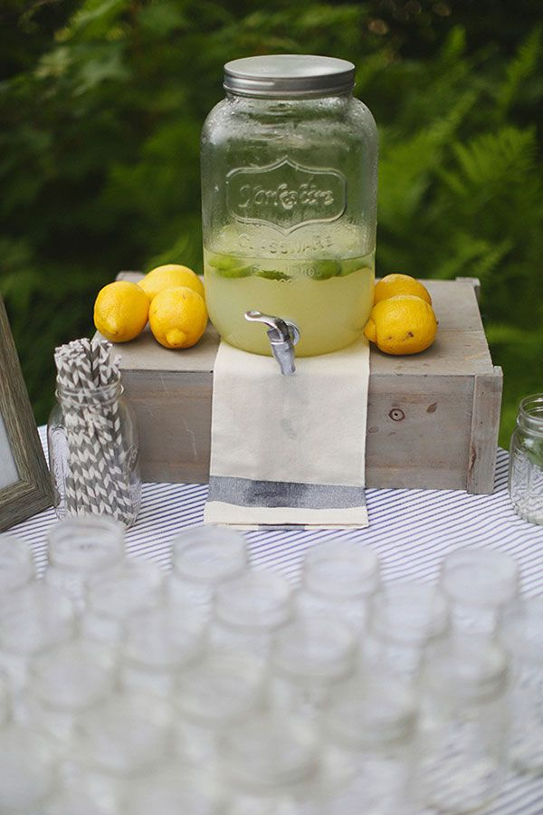 lemonade drink stand #drinkstation http://www.weddingchicks.com/2013/12/11/seaside-wedding-2/