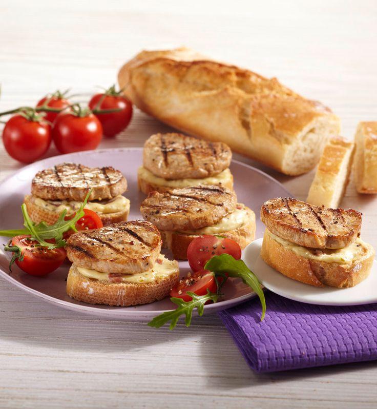 Crostini mit Schweinefilet #hochland #käse #rezept #crostini #cheese #recipe #lecker #yummy #ofenaufstrich