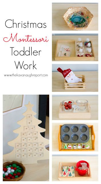 Montessori Christmas Trays for Toddlers -- easy to put together work for toddlers that encourage practical skills.
