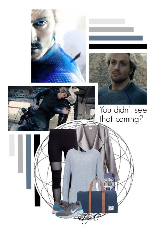 """Pietro Maximoff - Quicksilver - Marvel"" by rubytyra ❤ liked on Polyvore featuring Quiksilver, EAST, Timex, Warehouse, Herschel Supply Co., NIKE, Avengers and marvel"