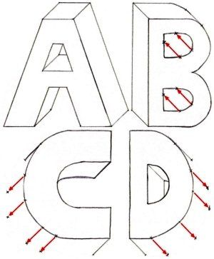How to draw 3-D letters