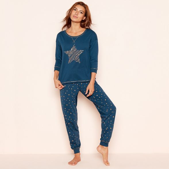 bottom price top-rated discount purchase newest Lounge & Sleep Dark turquoise star print cotton jersey ...
