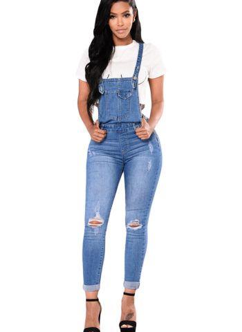 1554c4d8512 Hualong Women Strap Blue Jean Denim Jumpsuit  jeans  rippedjeans  women   fashion  overalls  jumpsuit