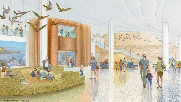 architectural illustration - Children's Hospital lobby - Stanford University