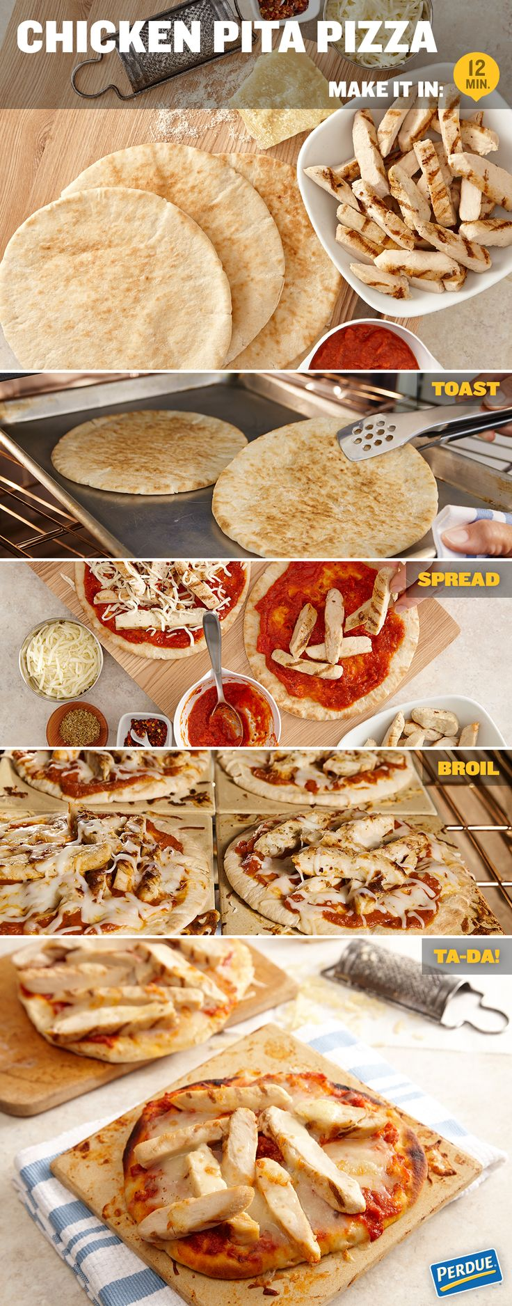 Chicken Pita Pizza comes together fast and can be on the table in just 12 minutes!