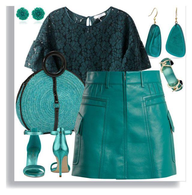 """Pintucked grained-leather mini skirt"" by nebeskazvezda ❤ liked on Polyvore featuring Kim Rogers, Bibi Marini, Magid, Prada, Nine West and Alexis Bittar"