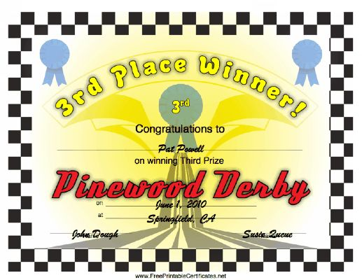 Lots of free printable pinewood derby awards pinewood for Pinewood derby certificate pdf