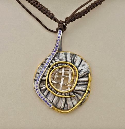DAVID CHKHEIDZE PENDANT 1 gold-plated silver, zircone, 50x30 mm