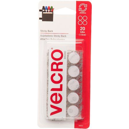 Velcro Brand Sticky Back, 5/8 inch Coins, White, 20-Count