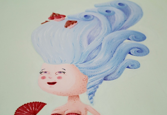 Marie Antoinette, detail, painting by Maria Imaginário, 2012