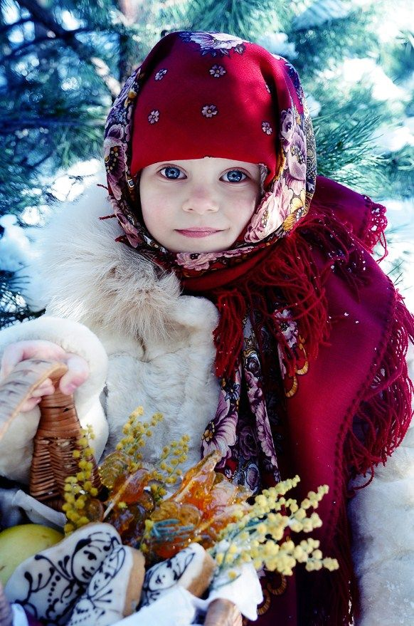 A Russian girl with big blue eyes in the national shawl. #cute #kids #Russian #folk
