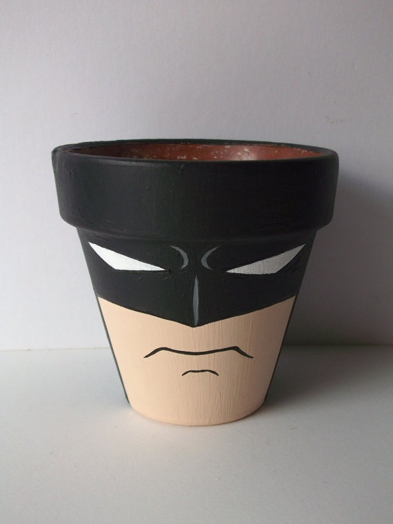 Batman Dark Knight Painted Flower Pot by GingerPots on Etsy, $16.00
